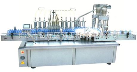 全自动柱塞式十头液体灌装双头旋盖一体机